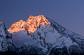 Watzmann glowing in morning light, Berchtesgaden range, Upper Bavaria, Bavaria, Germany