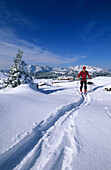 Backcountry skiier in front of deeply snow-covered lodge Straubinger haus with view to Wilder Kaiser range and Unternberghorn, Eggenalm, Fellhorn, Chiemgau range, Chiemgau, Upper Bavaria, Bavaria, Germany