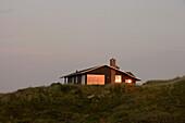 Sunset Reflection in Vacation Home Window, Henne Strand, Central Jutland, Denmark