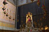 Inside cathedral Notre-Dame du Puy, altar with Black Madonna, St. James Way, Le Puy-en-Velay, Via Podiensis, Auvergne, Dep. Haute-Loire, France