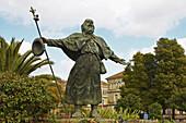 Sculpture of St. James as a pilgrim, Plaza da Paz, Santiago de Compostela, Galicia, Spain