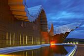 Bodegas Ysios from architect Santiago Calatrava in the evening, near Laguardia, Pais Vasco, Euskadi, Spain