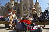 A group of pilgrims having lunch at the Episcopal Palace, from architect Antoni Gaudi, Palacio Episcopal, Astorga, Castilla León, Spain