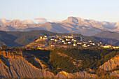 Sunset in the Pyrenees, mountain village of Berdun, Aragon, Spain, Europe