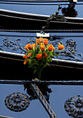Gondola with buch of roses, detail,  Venice, Veneto, Italy