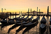 Gondola in a row and Isola San Giorgio in the background, Venice, Veneto, Italy
