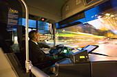 Tram drinver driving tram, Hanover, Lower Saxony, Germany