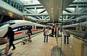 An ICE train at the Intercity station at Frankfurt Airport, Frankfurt, Hesse, Germany