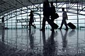 People, Travellers inside Frankfurt Airport, Frankfurt, Hesse, Germany