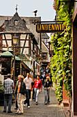 People outside restaurant Lindenwirt, Drosselgasse, Ruedesheim, Rheingau, Hesse, Germany