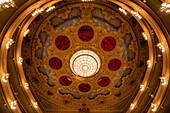 Balconies and slab, Gran Teatre del Liceu, opera house, La Rambla, Ciutat Vella, Barcelona, Catallonia, Spain