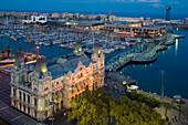 Gebäude des Port de Barcelona, Rambla del Mar, Port Vell, alter Hafen, Ciutat Vella, Barcelona, Katalonien, Spanien