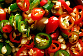 Close up of chili peppers, Thai Fingerfood, Hotel Rayavadee, Hat Phra Nang, Krabi, Thailand