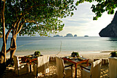 Tables from The Grotto Restaurant on the beach, Hotel Rayavadee, Hat Phra Nang, Krabi, Thailand