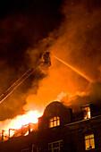 Roof fire, Munich, Upper Bavaria, Bavaria, Germany