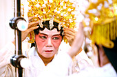 Woman dressing up, Chinese Opera at the Kreta Ayer Theatre, Chinatown, Singapore
