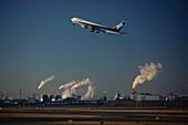 Airplane taking off, Airport, Tokyo, Japan