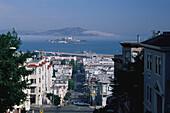 Jones Street with view towards Alcatraz Island, San Francisco, California, USA