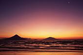 Volcano Concepcion at sunset, Madera, San Jorge, Isla des Ometepe, Lake Nicaragua, Nicaragua, Central America