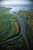 Aerial photo, Estuary of the river Rio Parana, Argentina, South America