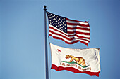 Bear Flag, Flag of California and the US Flag, Stars and Stripes, The Plaza, Sonoma Valley, California, USA