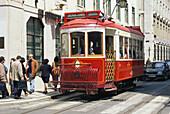 Electric driven tram, Electrico Circuito Turistico, Calcada de Sao Vicente, Baixa, Lisbon, Portugal