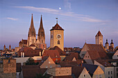 Regensburg Cathedral and city hall tower, Regensburg, Bavaria, Germany