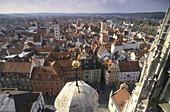 View over Regensburg, Upper Palatinate, Bavaria, Germany