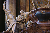 Sculptures of two apostles at virgin Mary's sarcophagus, detail of  baroque altar in the abbey church of Rohr, Lower Bavaria, Germany