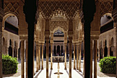 Court of the Lions, Patio de los Loenes, in Alhambra Palace, Granada, Andalusia, Spain