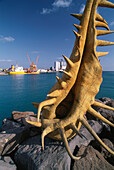 Sculpture shaped like a gigantic shell at harbour of Puerto del Rosario, Fuerteventura, Canary Islands, Spain