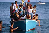 Boat procession, Fiesta de Ntra., Senora del Carmen, Giniginamar, Fuerteventura, Canary Islands, Spain
