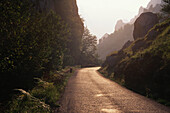 Narrow road through boulders and jagged mountain ridges glittering in the sunlight, the Picos de Europa National Park, Asturias, Northern Spain