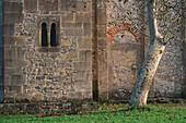Side wall with double-arched window of a pre-romanesque church, Santa Maria de Valdedios, Asturias, Northern Spain