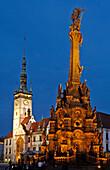 Trinity column with town hall, Olomouc, Olmütz, Czech Republic