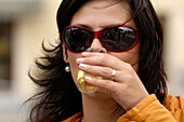 Woman with drink, Wine celebration, Znojmo, Czech Republic