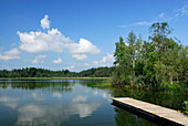 Landing stage at lake Fohnsee, Osterseen, Upper Bavaria, Bavaria, Germany