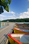 Landing stage with rowing boats, lake Walchensee, Upper Bavaria, Bavaria, Germany