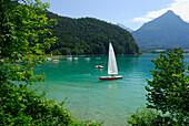 Sailing boats on lake Wolfgangsee, Salzkammergut, Salzburg, Austria