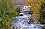 House in autumn landscape in Warren, Vermont, ,USA