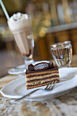 Gerbeaud Schnitte Cake and Iced Coffee at Gerbeaud Cafe, Pest, Budapest, Hungary
