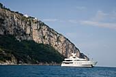 Luxury Yacht Anchored off Capri, Isola d'Capri Island, Capri, Campania, Italy