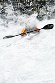 Kayaker in white water, river Mangfall, Upper Bavaria, Bavaria, Germany, MR