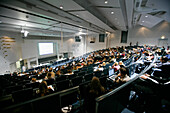 Lecture in a large lecture hall, Building for the faculty of Chemistry and Pharmacy, LMU, University, Ludwig Maximilians Universität, Grosshadern, Munich, Bavaria, Germany