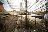 Fishing net, drying in the harbour, Sysne, Gotland, Sweden