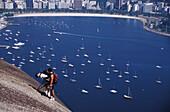 Two young men climbing on Sugarloaf Mountain Pao de Acucar, Rio de Janeiro, Rio de Janeiro State, Brazil