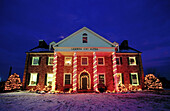 Lambda Chi Alpha Fraternity House with Christmas lights