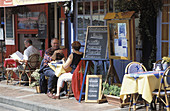 Harbourside outdoor cafe. Honfleur. Normandy, France