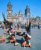 Native indians performing. Plaza de la Constitución (aka The Zócalo). Mexico City. Mexico