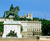 Louis XIV statue at Bellecour Square. Lyon. France